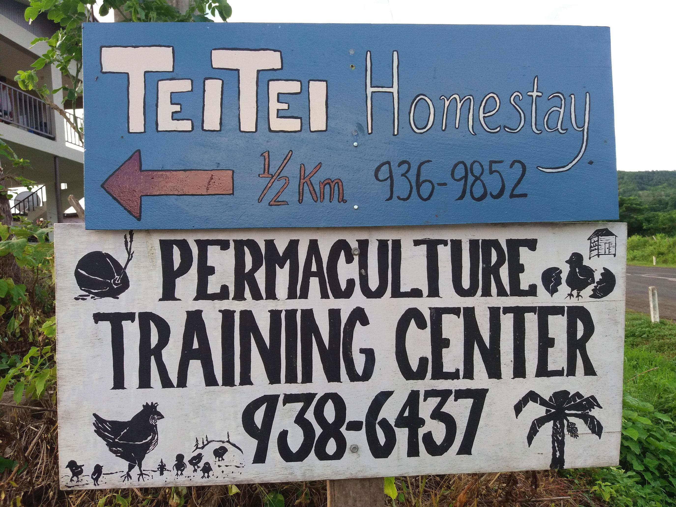 Teitei Farmstay Road Sign