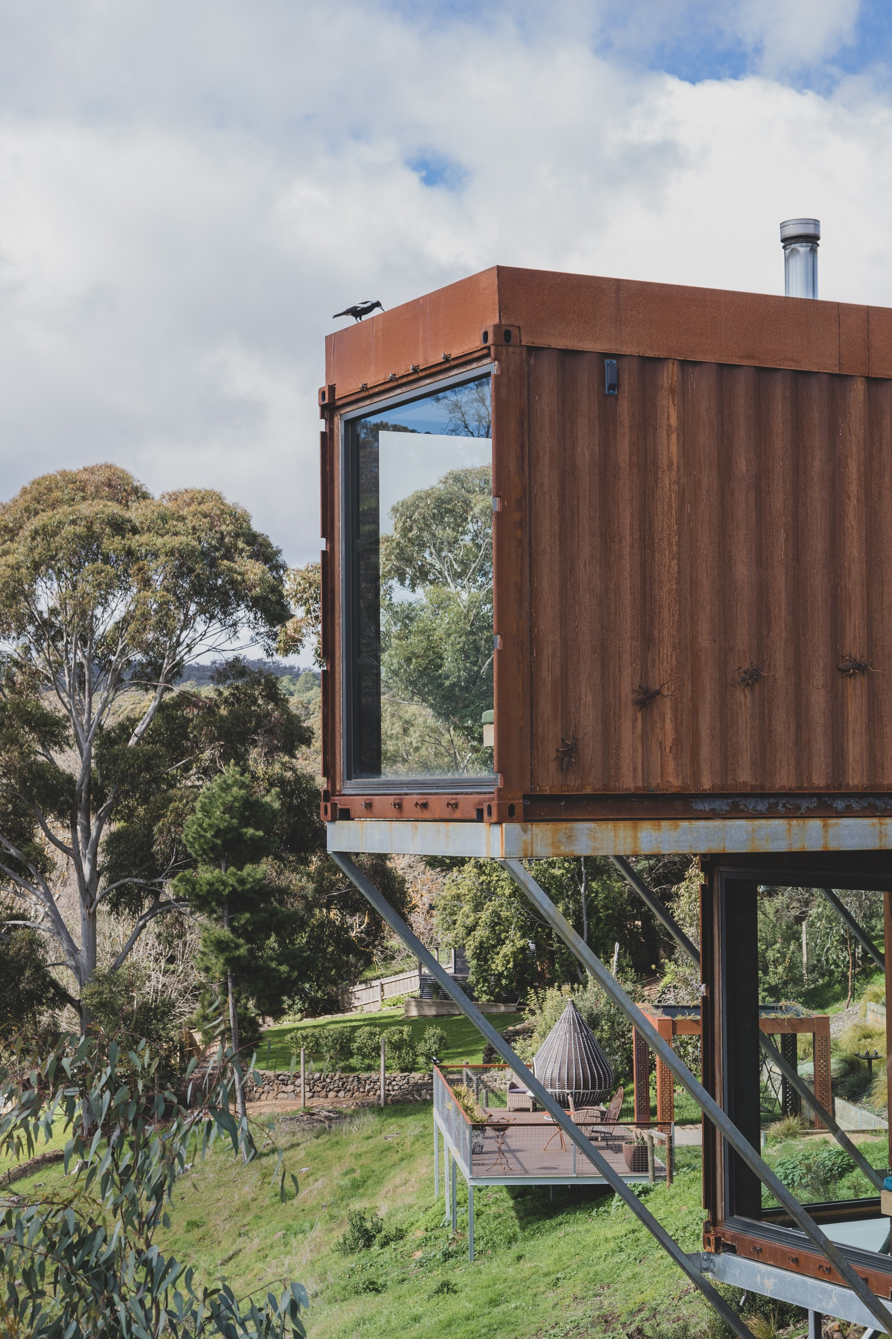 Shipping container accommodation. Clifftop at Hepburn.