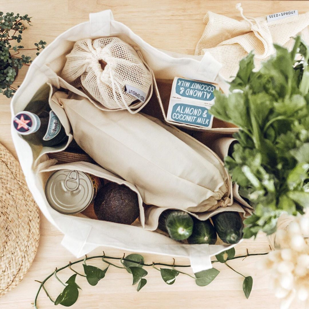 Seed and Sprout plastic free market bag