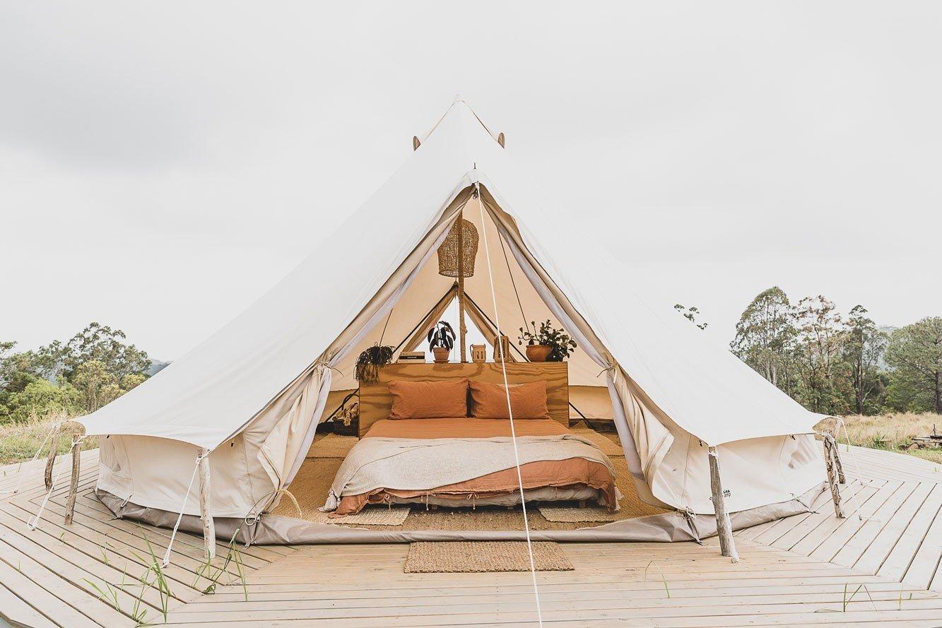 Bell tent at The Camp, Yelgun, Byron Bay