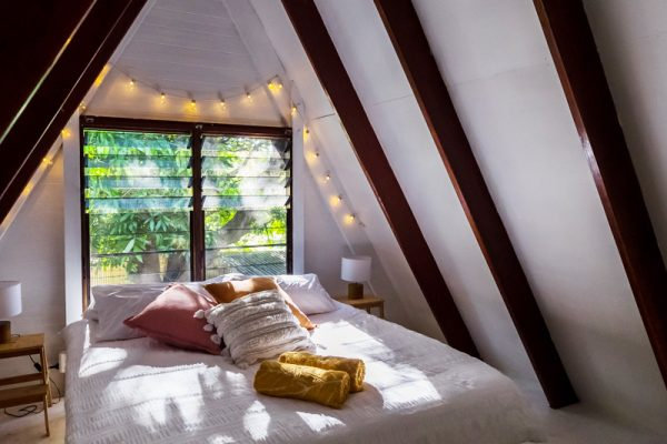 Maggie-A-Frame-loft-bedroom